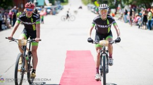 Nick Frey and Alison Powers cross the line together after over seven hours of suffering at the Leadville Trail 100.