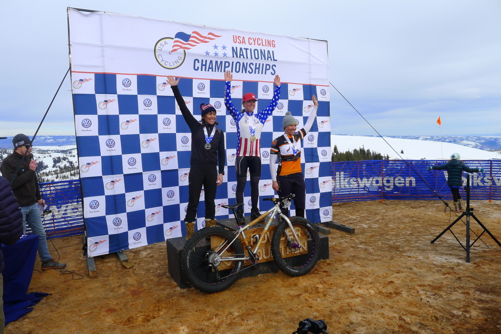 Winner winner, chicken dinner!  Amanda Miller takes home gold at the inaugural 2015 Fat Bike National Championship on her Alubooyah