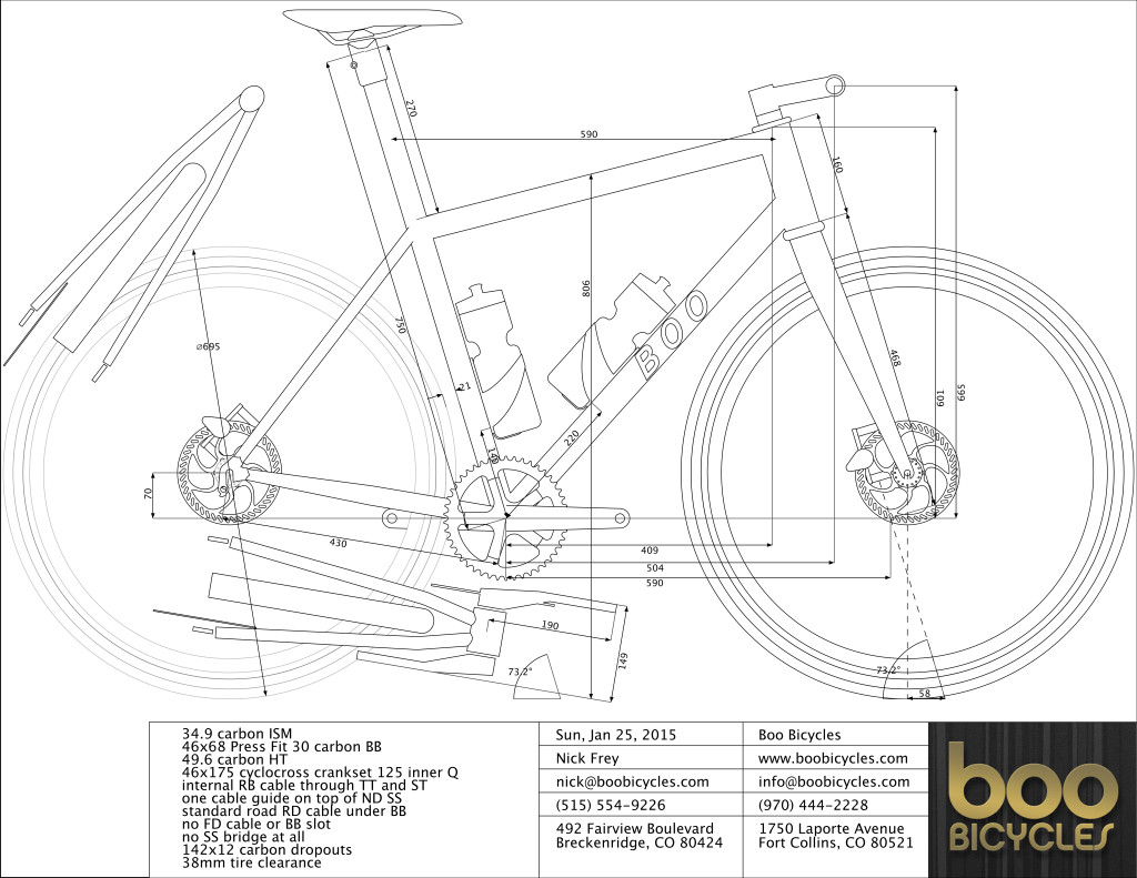 Custom geometry design for Nick's SL-G gravel race bike